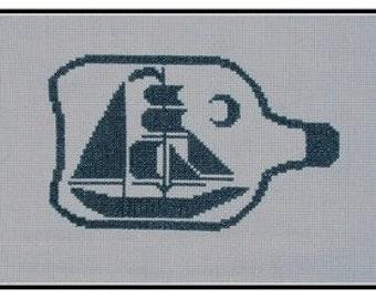 PDF E pattern emailed Nautical Boat Beach Cross Stitch Pattern Sampler 115
