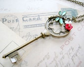 Key Necklace - Key with dragonfly and flower