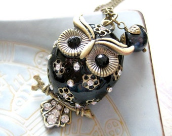 Owl Necklace, Black Owl Necklace - Iceblues