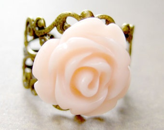 Rose Ring, Peach Rose Adjustable Filigree Ring, Adjustable Ring,Girls Jewelry, Floral Ring, Resin Ring, Gift for Her, Cocatail Ring