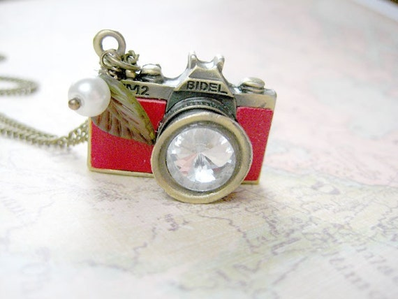 Antique Brass with Red Leather Camera Necklace