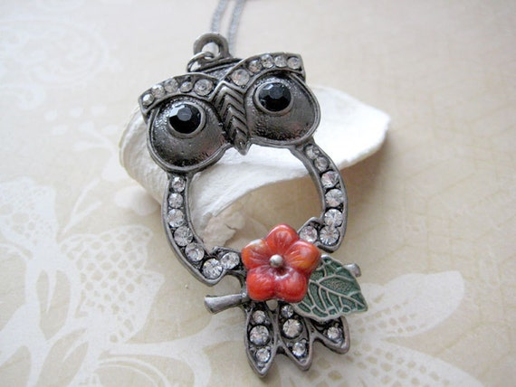 Owl Necklace, Rhinestone Owl Necklace