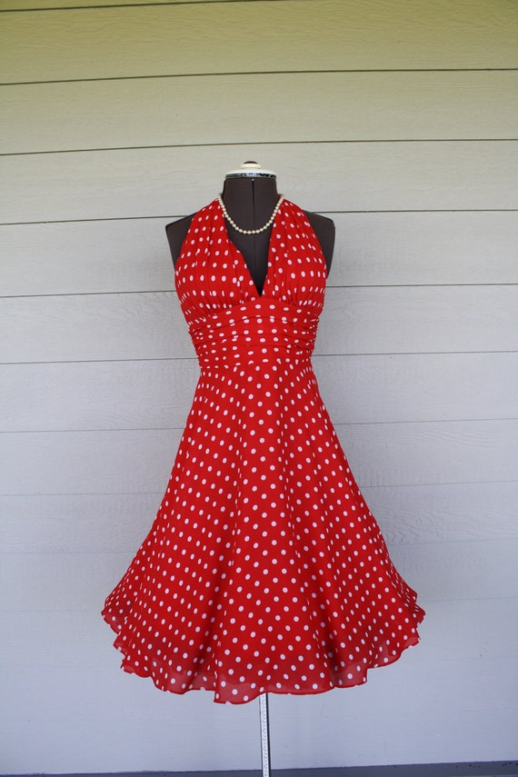Vintage Marilyn Monroe Look Halter Dress Red Polka Dot