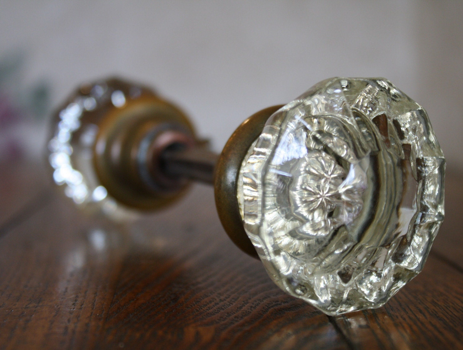 Beautiful Set Of Antique Glass Door Knobs