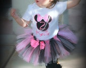 MINNIE MOUSE Inspired Pink & Black Dot 3 Piece Glitter Tutu Outfit Girls First Birthday INCLUDES TuTu, Hairpiece, and Top