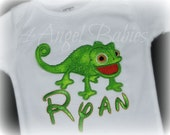 Chameleon Pascal or Flynn Rider from Rapunzel Inspired Green Lizard Boys Birthday Dot Applique Shirt or Body Suit with NAME Pick your size