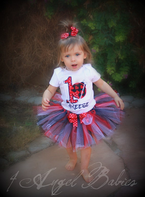 3 Piece Lady Bug Red First Birthday LADYBUG Glitter Tutu Outfit with Bodysuit, Headband, and Tutu Choose Size with Embroidered Name