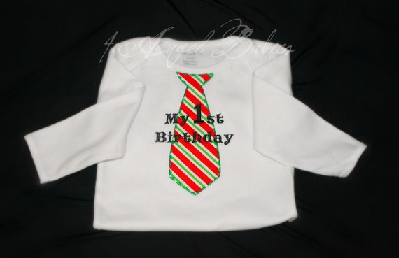 Personalized Tie Applique Boys First Birthday Shirt or Body Suit with NAME and Phrase Choose from over 60 fabric options