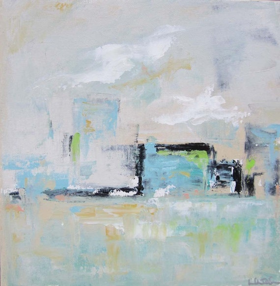 Abstract Cityscape Original Painting- City in Blue 12 x 12