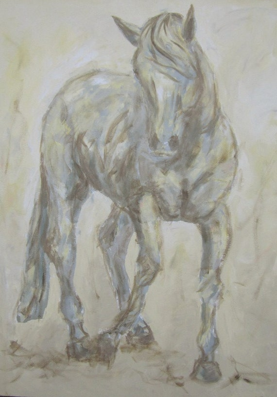 Horse Painting Original Acrylic Art -Grey Knabstrupper  30 x 40