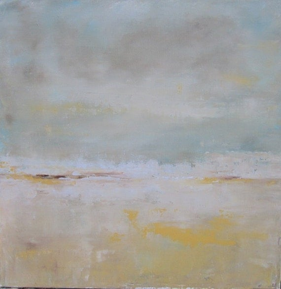 Seascape Beach Original Painting on Canvas- Beautiful LIght 20 x 20