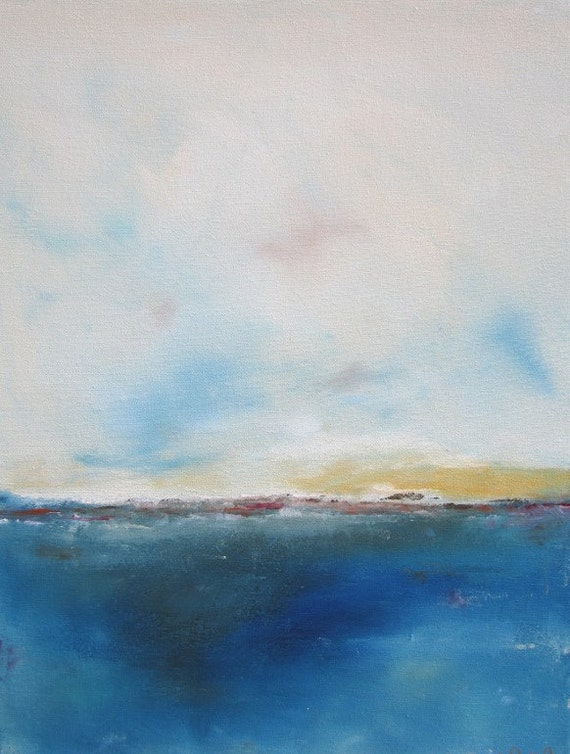 Abstract Seascape Ocean Original Painting on Canvas- Inverness Blue 22 x 28
