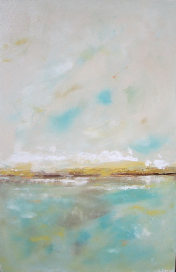Abstract Seascape Ocean Painting -Quiet Sea 24 x 36