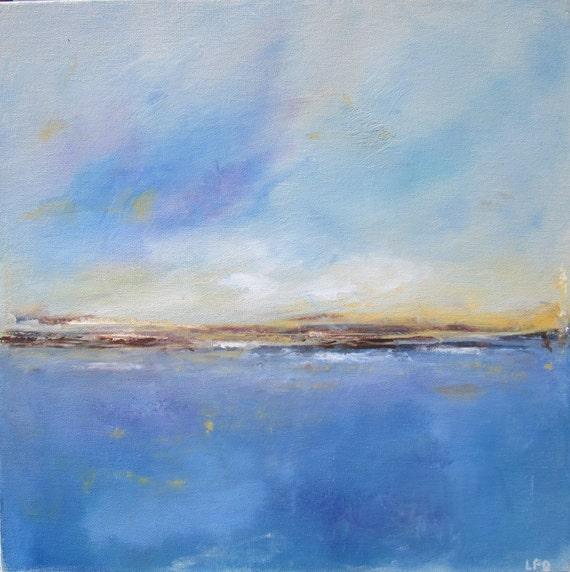 Abstract Landscape Original Art-  Summer Seaside 16 x 16