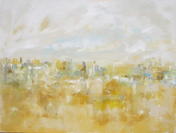 Large Abstract Cityscape Original Painting - City with Yellow 40 x 30