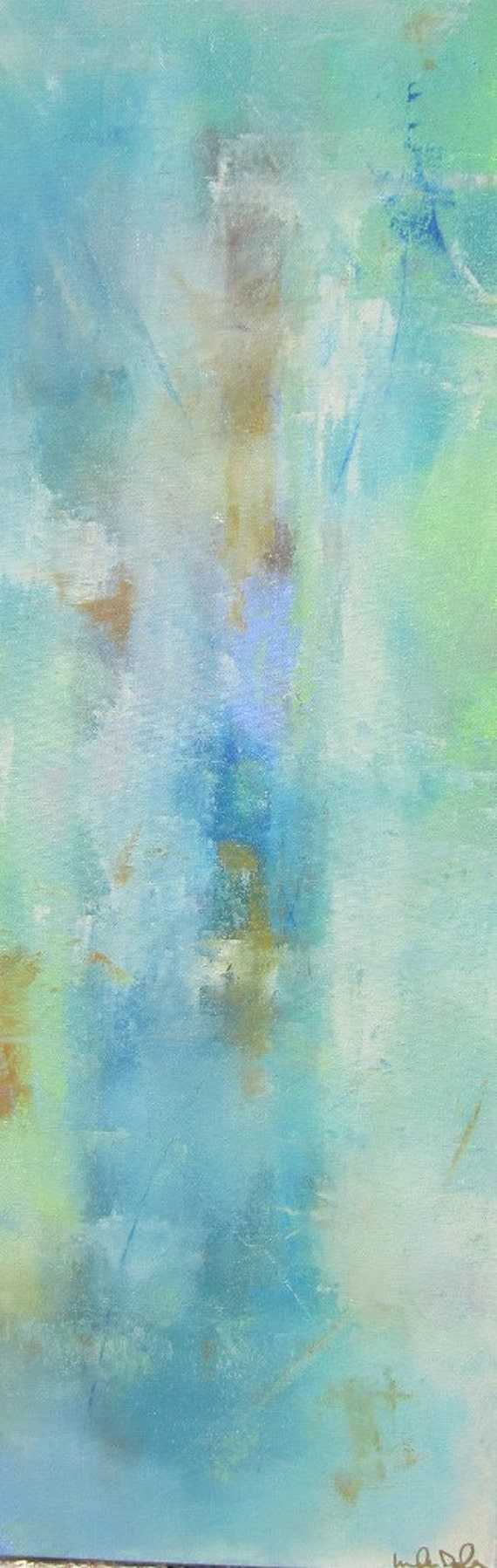 Abstract Expressionist Original Painting -Water Garden 12 x 36