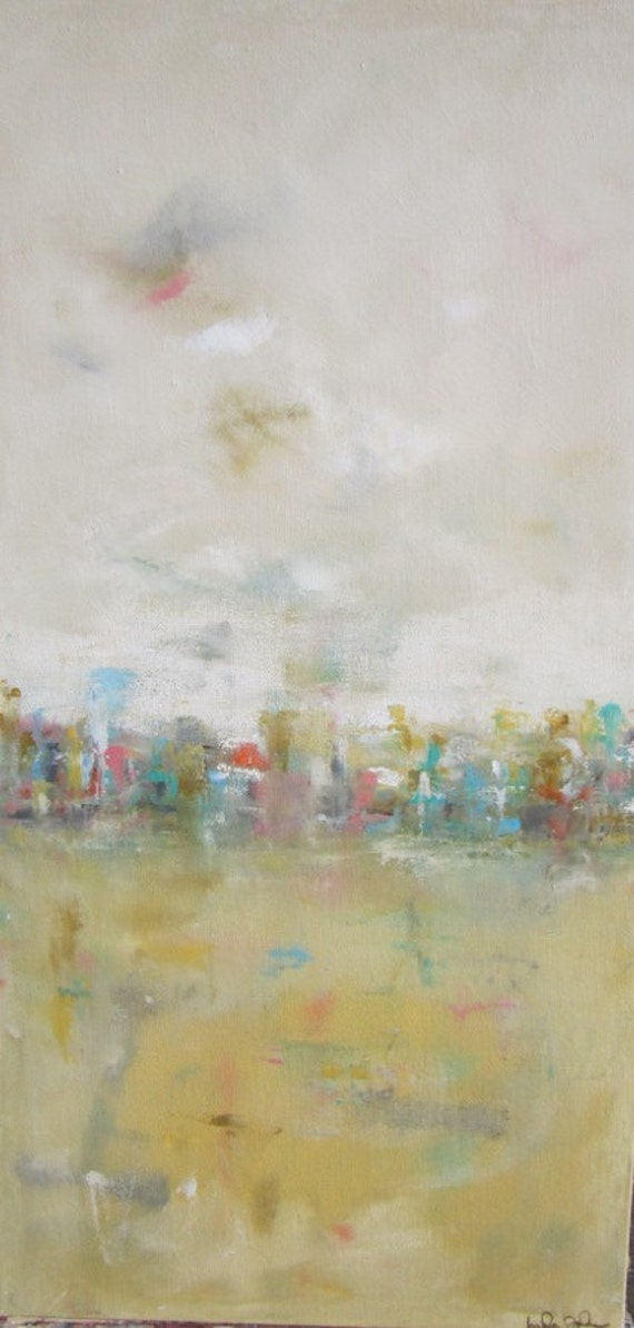 Large Abstract Cityscape Original Painting- City Light 18 x 36