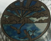 Original Handmade Eagle in Clouds Sunburst Suncatcher