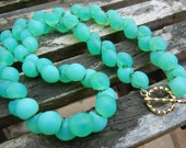 """SALE, REDUCED PRICE 35.00 From 40.00,Teal,Aqua,, Mushroom Button Bead, 16"""" Necklace, Under 50,"""