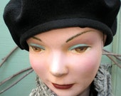 Black Wool/cashmere French beret by Zazu and Violets' hats