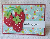 Strawberries Happy Birthday Card RESERVED FOR BETTY