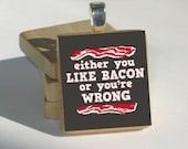 Bacon Scrabble Tile Pendant
