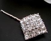 Bridal Rhinestone Hair Pin, Silver Rhinestone Hair Pin, BIANCA