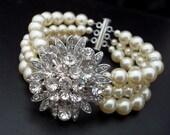 Pearl Bracelet,Bridal Rhinestone Bracelet,Ivory Swarovski Pearls,Wedding Rhinestone Pearl Bracelet,Statement Bridal Bracelet,Pearl,MIRNA