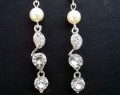 Bridal Earrings,Ivory Pearls,Bridal Wedding Rhinestone Pearl Earrings,Bridal Pearl Earrings,Bridal Jewelry,Wedding Pearl Earrings,JANET