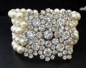 Bridal Wedding Bracelet,Ivory or White Pearls,Pearl Rhinestone Bracelet,Pearl Bridal Bracelet,Statement Bridal Bracelet,Pearl,Cuff, ATHENA