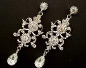 Bridal Earrings, Swarovski Teardrop, Old Hollywood, Long Rhinestone Earrings, Wedding Crystal Earrings, Statement Bridal Earrings, MELANIE