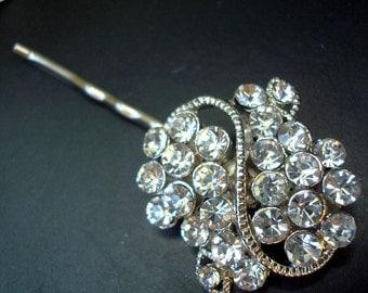 Bridal Rhinestone Hair Pin, Wedding Rhinestone Hair Pin, Rhinestone Silver Hair Pin, Wedding Rhinestone Hair Pin, Wedding Jewelry, HELEN