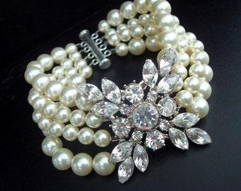 Pearl Bracelet,Bridal Pearl Bracelet, Bridal Rhinestone Bracelet, Ivory Swarovski Pearl, Statement Bridal Bracelet, Bridal Cuff,Pearl,DEIDRE