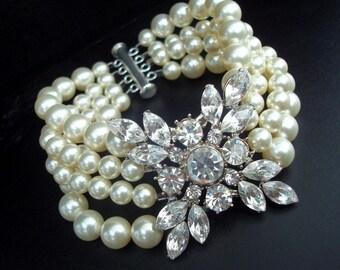 Pearl rhinestone bracelet, Pearl Bracelet, Bridal Rhinestone Bracelet, Wedding Pearl Bracelet, Statement Bridal Bracelet, DEIDRE