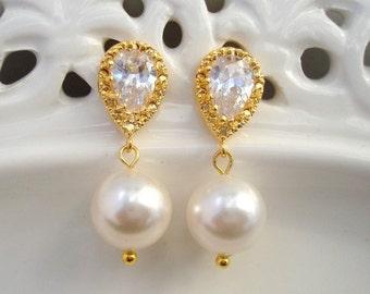 Ivory swarovski Pearl wedding rhinestone Earrings Bridal stud Earrings white swarovski pearl Wedding Pearl Earrings cubic zirconia AUDREY