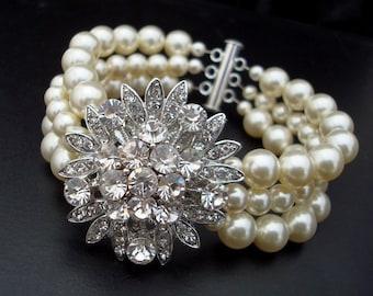 pearl rhinestone Bracelet, pearl bracelet, Statement Bridal Bracelet, Wedding Rhinestone Bracelet, swarovski crystal bracelet, MIRNA