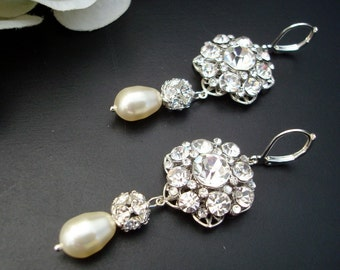 pearl Bridal Earrings, Rhinestone Wedding Earrings, Chandeliers bridal Earrings, swarovski pearl crystal earrings, teardrop earrings, SUSAN
