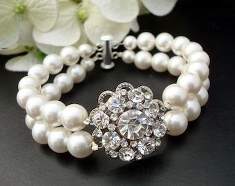 bridal bracelet pearl and rhinestone Bracelet Statement Bridal Bracelet Wedding Rhinestone Bracelet ivory swarovski pearl bracelet SUSAN