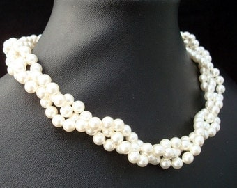 Bridal Pearl Necklace,White Swarovski Pearls,Statement Bridal Necklace,Wedding Pearl Necklace,Pearl,Classic Necklace,Bridal Jewelry, NADIA