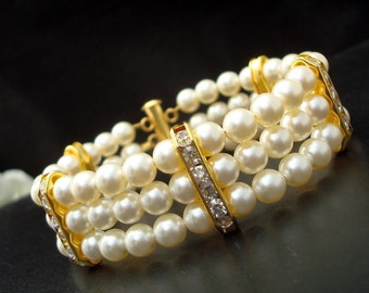 ivory swarovski pearl and crystal Bracelet Statement Bridal Bracelet Bridal Cuff Wedding Rhinestone Bracelet swarovski pearl FRANCESCA