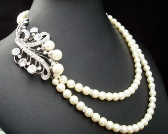 Bridal Pearl Necklace, Ivory or White Pearls, Bridal Rhinestone Necklace, Bridal Statement Necklace,Pearl Rhinestone Necklace,Pearl,TAMARA