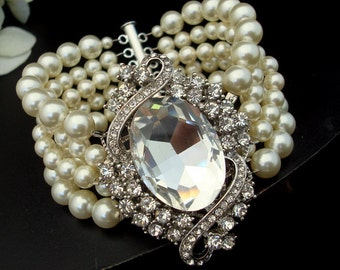 ivory swarovski pearl and crystal Bracelet Statement Bridal Bracelet Bridal Cuff Wedding Rhinestone Bracelet swarovski crystal ESTEE