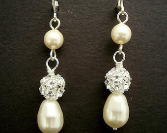 Pearl Bridal Earrings,Ivory or White Pearls,Classic Bridal Earrings,Bridal Rhinestone Earrings,Pearl,Teardrop Earrings,Pearl Drop, CLAIRE