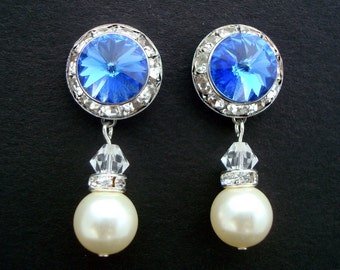Bridal earrings, Pearl earrings, Something Blue Earrings, Bridal Rhinestone Earrings, Swarovski earrings, Pearl Rhinestone Earrings, MAXINE