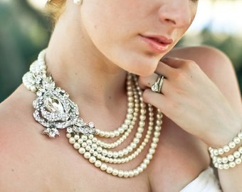 Bridal Pearl Necklace, Ivory or White Pearls, Statement Bridal Necklace, Rhinestone Bridal Necklace,Wedding Pearl Necklace,Pearl, MIRANDA