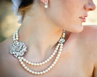 Pearl Necklace Bridal Rhinestone Necklace bridal pearl necklace wedding necklace rhinestone necklace bridal statement necklace ANGELINA