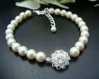 Bridal Wedding Bracelet,Bridal Pearl Bracelet,Ivory Swarovski Pearls,Delicate Bracelet,Bridal Rhinestone Bracelet, Bridal Cuff,Pearl,JENNA