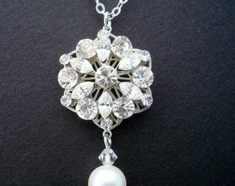 Pearl Necklace,Bridal Necklace,Bridal Rhinestone Necklace,Ivory or White Pearls,Pearl Rhinestone Necklace,Bridal Pearl Necklace, ALEXANDRA