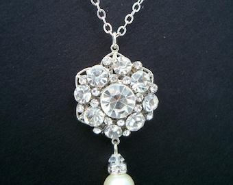 Bridal Pearl Necklace, Ivory Swarovski Pearls, Bridal Rhinestone Necklace, Silver Chain Necklace, Rhinestone Pearl Necklace, Silver, SUSAN