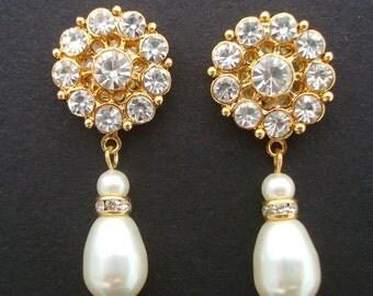 Pearl and Rhinestone Earrings, Bridal Rhinestone Earrings, Gold  Earrings, Statement Bridal Earrings,Ivory Swarovski Pearls,Pearl,Stud,CLARA